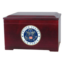Wood Cremation Urns - Rosewood Military Memory Chest with Urn