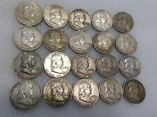 Lot of (20) Circulated, Toned U.S. Franklin Half Dollars