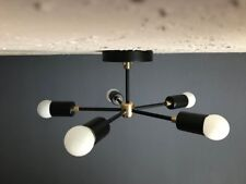 Black and Brass Modern Chandelier 5 Light Sputnik Mid Century Industrial Light