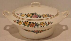 "VTG Ivora-FLOWERS,GOLD TRIM-CROOKSVILLE CHINA-Vegetable Bowl w/Lid-8 1/2""-1930's"