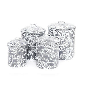 Genuine Crow Canyon Home Marbled Enamelware Canister Set Spatterware