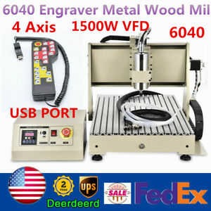 4 Axis USB 1500W VFD 6040 CNC Router Engraver Metal Drill Milling Cutter+RC 220V