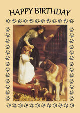 SAINT BERNARD AND PUPS FAMILY ON STAIRS  GREAT DOG BIRTHDAY GREETINGS NOTE CARD