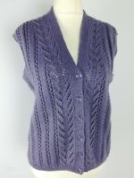 Handmade Purple Sleeveless Waistcoat Button Down Cardigan Size Plus Size 16 L