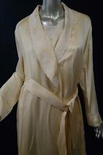 LA PERLA Peignoir100% Silk Cream Lace Trimmed Robe/Nightgown Set Sz 2