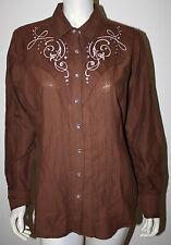 ARIAT Brown DAHLIA Embroidered Rhinestone Western Cowgirl Shirt NWT L