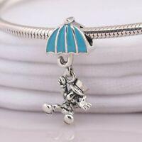 925 Sterling Silver Jiminy Cricket Dangle Charm Blue Enamel Fit Bracelet