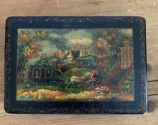 Antique Russian miniature painting wood lacquer trinket box casket Soviet Union