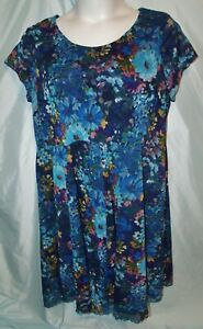 Roaman's Multicolor Floral Polyester Cap Sleeve Short Sheath Dress Size 24W