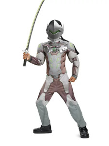 NEW Overwatch Genji Muscle Jumpsuit Disguise Halloween Costume Child Large 10-12