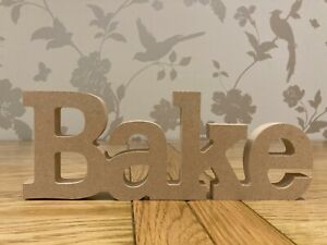 Freestanding wooden BAKE sign