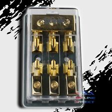MAXI FUSE GOLD DISTRIBUTION BLOCK (3)2/4 GA IN THREE 8 GAUGE OUT 12V Marine USA