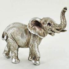 More details for antique silver effect elephant sculpture statue figurine ornament 13cm