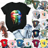 Womens Ladies Tee Loose Basic Summer Blouse Shirt Holiday Lip Short Sleeve Tops
