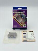 Nintendo 64 Controller Memory Pak Japanese Version Memory Card 070521 Boxed