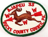 Vintage Ajapeu 33 Bucks County Council PA WWW Order Arrow OA Boy Scout BSA Patch