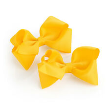 "Joblot of 12 Packs Of 2 Pack Yellow Hair Bow Girls Clips School Ribbon 4"" Slides"