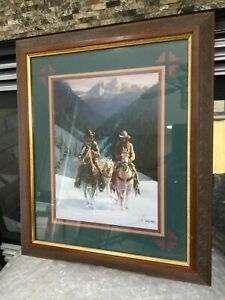 VTG HOMCO HOME INTERIORS WESTERN COWBOY HAT WOOD FRAME PICTURE