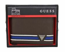 NEW GUESS MEN'S WALLET LEATHER PASSCASE BILLFOLD CREDIT CARD CASE HERITAGE BROWN