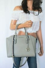 NWT MICHAEL KORS CIARA LARGE TOP ZIP SATCHEL LEATHER SHOULDER BAG PEARL GREY