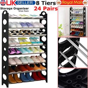 8 Tier Shoe Storage Shelf Rack Organizer Shelf Stand Free Standing Holds 24 Pair