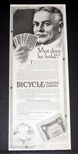 1919 OLD MAGAZINE PRINT AD, BICYCLE PLAYING CARDS, WHAT CARDS DOES HE HOLD? ART!