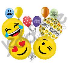 10 pc Emoji Happy Birthday Balloon Bouquet Party Decoration Wink Joy Love Smiley