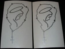 """(2) MARY with ROSARY Catholic 5"""" Silver Decals for Car, Vans, Window or Wherever"""