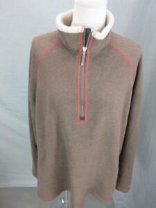 Columbia XCO Size XL Mens Brown 1/2 Zip Fleece Lined Pullover Sweater T308