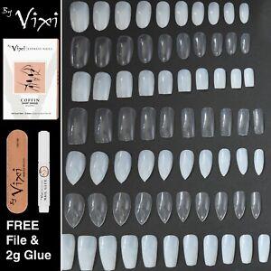 50-600x False Nails - STILETTO ✔ COFFIN ✔ OVAL ✔ SQUARE Natural & Opaque 💖 Vixi