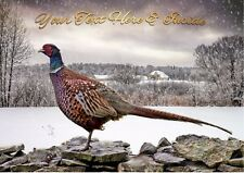 PHEASANT WINTER COUNTRYSIDE CHRISTMAS CARD - Personalised + illustrated inside