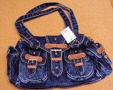 Women Stonewashed Blue Denim Jeans Leather Trim Handbag Shoulder Crossbody Bag