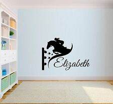 Personalised Horse Show Jumping Equestrian Name Trailer Wall Art Sticker Mural