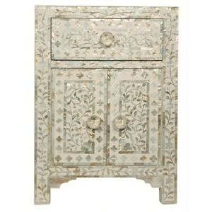 Maya Mother of pearl Bedside cabinet Lamp table White (MADE TO ORDER)