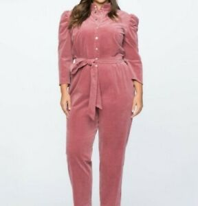 NWT Eloquii Pink Corduroy Jumpsuit Size 18