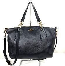 Coach Kelsey Small Satchel Leather Shoulder Bag Purse Bag Black Gold 28993