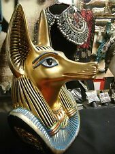 Vintage Hand Carved and Hand Painted Egyptian God Anubis  1981 Made In Egypt