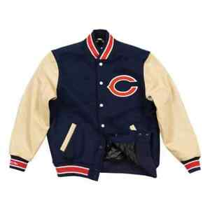Mitchell Ness M&N Authentic Chicago Bears Wool Leather Jacket 36 S Small Varsity