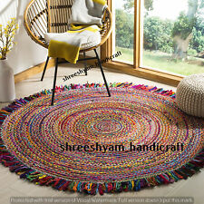"""6""""Feet Round Indian Natural Cotton Rug Braided Rug Decor Dining Floor Living Rug"""