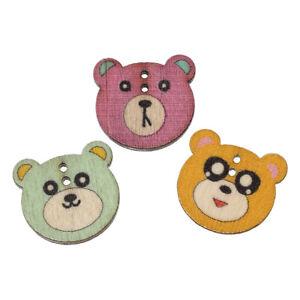 Buttons - 2.1x1.9cms -Wooden - Two Hole - 'Bear'  Shape - Random Colours - 10Pcs