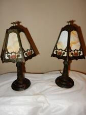 Antique ART NOUVEAU SLASG GLASS BOUDOIR BEDROOM  PANEL TABLE LAMP ORIGINAL