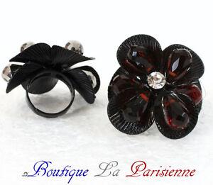 Anello Donna Cristallo Nero BI&JOU Paris Fiori Sfaccettato Perle
