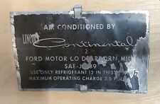 1961-1968 LINCOLN CONTINENTAL AIR CONDITIONER CHARGE PLATE OEM HVAC FREON 12