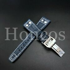 22MM Blue Alligator Leather Strap Band Deployment Buckle Clasp Fits For IWC