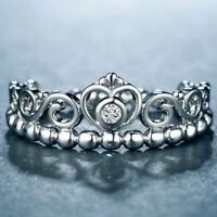 Elegant Queen Crown Wedding Rings for Women 925 Silver White Sapphire Size 6-10