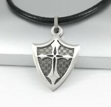 Silver Black Chrome Dog Tag Knights Shield Cross Pendant Black Leather Necklace
