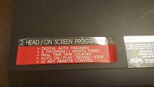 ORION VHS VIDEO CASSETTE RECORDER 2 HEAD/ON SCREEN PROGRAMMING MODEL # VR0220
