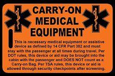 Safety Orange Carry-On Medical Equipment  Bag Tag - TSA - CPAP BiPAP APNEA POC