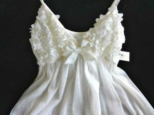 Flora Nikrooz Babydoll Nightie S NWT Satin Flower Cups Sheer 2-Layer Skirt Ivory