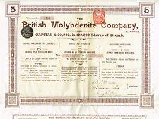 England British Molybdenite Company stock certificate 1906 5Sh